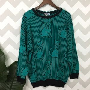 Vintage cats striped turquoise hippie crew sweater